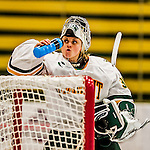 13 November 2015: University of Vermont Catamount Goaltender Madison Litchfield, a Junior from Williston, VT, hydrates during a break in the action against the Providence College Friars at Gutterson Fieldhouse in Burlington, Vermont. The Lady Friars defeated the Lady Cats 4-1 in Hockey East play. Mandatory Credit: Ed Wolfstein Photo *** RAW (NEF) Image File Available ***