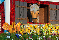 "Burbank CA, Tournament of Roses ""Barnyard Aces"" Animation Trophy, Horses, Stable, Barn, Window, Decorated"