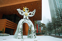 Charlotte Photography - Photography of the snow covered Firebird at the Bechtler Museum in uptown Charlotte North Carolina.<br /> Snow scenes in uptown Charlotte.<br /> <br /> Charlotte Photographer - PatrickSchneiderPhoto.com