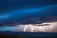Lightning Storm, Jackson Hole, Wyoming. All of the action is over Grand Teton National Park but the photo was taken from the Bridger Teton National Forest.