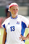24 July 2005: Iceland's Rakel Logadottir, pregame. The United States defeated Iceland 3-0 at the Home Depot Center in Carson, California in a Women's International Friendly soccer match.