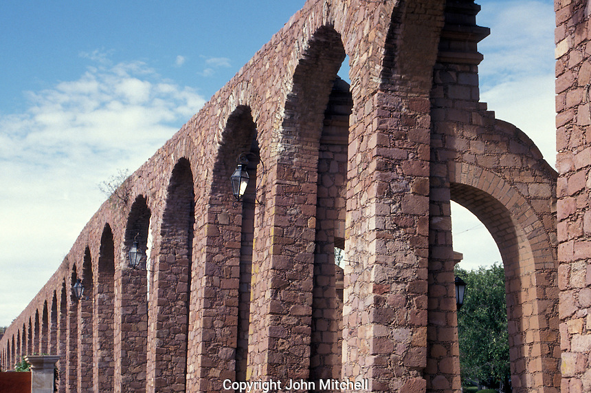 The Del Cubo 18th century Spanish aqueduct is in the city of Zacatecas, Mexico