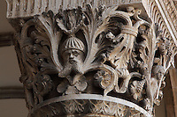 Carved capital with acanthus leaves and human figures, 15th century by Salvi di Michele in Renaissance style, on the porch on the facade of the Rector's Palace, built in the 15th century by Onofrio di Giordano della Cava, in Gothic and Renaissance style, Dubrovnik, Croatia. The city developed as an important port in the 15th and 16th centuries and has had a multicultural history, allied to the Romans, Ostrogoths, Byzantines, Ancona, Hungary and the Ottomans. In 1979 the city was listed as a UNESCO World Heritage Site. Picture by Manuel Cohen