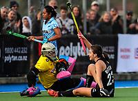 Deanna Ritchie of the Blacksticks scores during the international hockey match between the Blacksticks Women and India, Rosa Birch Park, Pukekohe, New Zealand. Sunday 14  May 2017. Photo:Simon Watts / www.bwmedia.co.nz