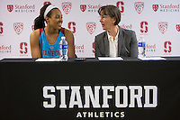 STANFORD, CA - December 4, 2016: Erica McCall, Tara VanDerveer at Maples Pavilion. Stanford defeated UC Davis, 68-42. The Cardinal wore turquoise uniforms to honor Native American Heritage Month