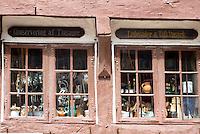 Half-timbered shop in Nedergade in Odense on Funen Island, Denmark