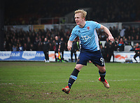 Blackpool's Mark Cullen celebrates scoring his sides second goal <br /> <br /> Photographer Kevin Barnes/CameraSport<br /> <br /> The EFL Sky Bet League Two - Saturday 18th March 2017 - Newport County v Blackpool - Rodney Parade - Newport<br /> <br /> World Copyright &copy; 2017 CameraSport. All rights reserved. 43 Linden Ave. Countesthorpe. Leicester. England. LE8 5PG - Tel: +44 (0) 116 277 4147 - admin@camerasport.com - www.camerasport.com