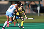 15 November 2015: Michigan's Carly Bennett (6) watches North Carolina's Kristy Bernatchez (3). The University of North Carolina Tar Heels played the University of Michigan Wolverines at Francis E. Henry Stadium in Chapel Hill, North Carolina in a 2015 NCAA Division I Field Hockey Tournament Quarterfinal match. UNC won the game 1-0.