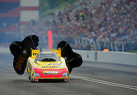 Jun. 18, 2011; Bristol, TN, USA: NHRA funny car driver Paul Lee during qualifying for the Thunder Valley Nationals at Bristol Dragway. Mandatory Credit: Mark J. Rebilas-