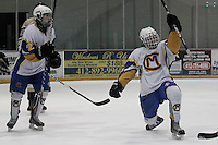 Carmen Dalesandro #93 of Canon-McMillan celebrates after scoring a goal against Norwin during their quarterfinal game at Southepointe Iceoplex on March 16, 2012 in Canonsburg, PA...(Jared Wickerham/For The Tribune-Review).JW Norwin-CMhockey317.jpg.