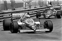 DETROIT, MI - JUNE 23: Keke Rosberg drives the Williams FW10/Honda RA164E en route to victory in the Detroit Grand Prix FIA Formula One World Championship race at the Detroit Street Circuit in Detroit, Michigan, on June 23, 1985.