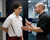 Johnny Gaudreau (BC - 13), Mark Majewski (NU - SID) - The Boston College Eagles practiced on Friday, April 6, 2012, during the 2012 Frozen Four at the Tampa Bay Times Forum in Tampa, Florida.