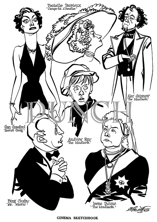 Cinema Sketchbook.. ; The Mudlark ; Alec Guinness , Andrew Ray and Irene Dunne..Harriet Craig ; Joan Crawford..Mr Music ; Bing Crosby..Occupe - toi d ' Amelie ; Danielle Darrieux