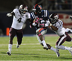 Mississippi wide receiver Collins Moore (16) is tackled by Texas A&amp;M's Tony Hurd (4) and Texas A&amp;M's Howard Matthews (31)  in Oxford, Miss. on Saturday, October 6, 2012. (AP Photo/Oxford Eagle, Bruce Newman)..