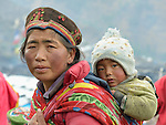 A Tamang woman and child in the village of Gatlang, in the Rasuwa District of Nepal near the country's border with Tibet.