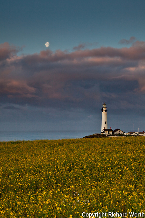 Pigeon Point Lighthouse at sunrise with a gibbous moon above pink clouds.