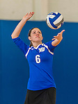 18 October 2015: Yeshiva University Maccabee Setter and Defensive Specialist Yael Ghelman, a Sophomore from Houston, TX, serves during game action against the College of Mount Saint Vincent Dolphins at the Peter Sharp Center, in Riverdale, NY. The Dolphins defeated the Maccabees 3-0 in the NCAA Division III Women's Volleyball Skyline matchup. Mandatory Credit: Ed Wolfstein Photo *** RAW (NEF) Image File Available ***