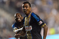 Jose Kleberson (19) of the Philadelphia Union celebrates scoring with Raymon Gaddis (28). The Philadelphia Union defeated Toronto FC 1-0 during a Major League Soccer (MLS) match at PPL Park in Chester, PA, on October 5, 2013.