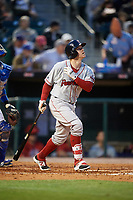 Boston Red Sox outfielder Brock Holt (60) flies out while on rehab assignment with the Pawtucket Red Sox during a game against the Buffalo Bisons on May 19, 2017 at Coca-Cola Field in Buffalo, New York.  Buffalo defeated Pawtucket 7-5 in thirteen innings.  (Mike Janes/Four Seam Images)