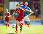 St Johnstone v Aberdeen...23.08.14  SPFL<br /> Mark Reynolds and Steven MacLean<br /> Picture by Graeme Hart.<br /> Copyright Perthshire Picture Agency<br /> Tel: 01738 623350  Mobile: 07990 594431