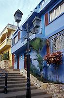 Restored houses in the Las Penas restored historic district on Cerro Santa Ana in Guayaquil, Ecuador
