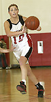 SOUTHBURY, CT, 01/02/08- 010208BZ02- ACTION MAN-- Pomperaug's Lauren Atkinson (10) passes the ball against Notre Dame during their game at Pomperaug High School in Southbury Wednesday night.<br /> Jamison C. Bazinet Republican-American