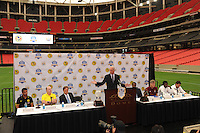 David Simmons of International Events Group Operations serves as master of ceremonies to the assembled media. The press conference for the 2010 Atlanta International Soccer Challenge was held, Tuesday, July 27, at the Georgia Dome, a day in advance of the match between Club America and Manchester City.