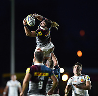 Luke Wallace of Harlequins claims the ball in the air. Aviva Premiership match, between Harlequins and Exeter Chiefs on April 14, 2017 at the Twickenham Stoop in London, England. Photo by: Patrick Khachfe / JMP