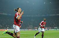 FUSSBALL   CHAMPIONS LEAGUE   SAISON 2011/2012     23.11.2011 AC Mailand - FC Barcelona JUBEL Zlatan Ibrahimovic (AC Mailand)