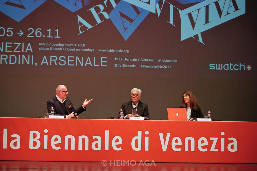 57th Art Biennale in Venice - Viva Arte Viva.<br /> Opening Press Conference.<br /> C. Giordanetti of sponsor Swatch, Biennale President Paolo Baratta, Curator Christine Macel.