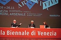 57th Art Biennale in Venice - Viva Arte Viva.<br /> Opening Press Conference.<br /> C. Giordanetti of sponsor Swatch, Biennale President Paolo Baratta, Curator Christine Macel.