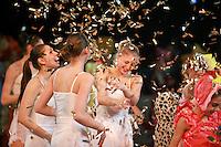"Deriugina School gymnasts of Ukraine celebrate finish of gala exhibition after 2007 World Cup Kiev, ""Deriugina Cup"" in Kiev, Ukraine on March 18, 2007. Visible is  (L) Viktoria Antonova with Irina Kovalchuk (3rd from left)...with others."