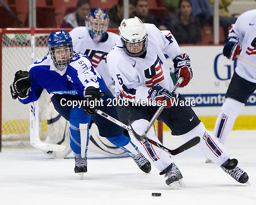 Iiro Pakarinen (Finland - 10), John Ramage (US - 5) - Team USA defeated Team Finland 3-2 to win the Four Nations Cup (Under-18 boys) on Saturday, November 9, 2008 in the 1980 Rink in Lake Placid, New York.