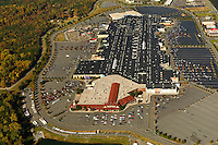 Aerial view of Concord Mills mall, a 1.4 million square foot shopping center located in Concord, NC, about 12 miles from downtown Charlotte. The mall is located about a mile from the Lowe's Motor Speedway.