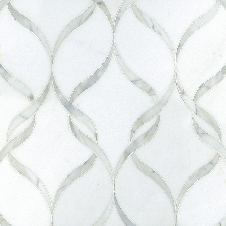 Sophie, a natural stone waterjet mosaic shown in honed Thassos and polished Calacatta Tia, is part of the Silk Road Collection by Sara Baldwin for New Ravenna Mosaics.
