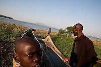 Fishermen prepare for an evening of fishing on Lake Victoria. Homa bay is a large fishing town in western Kenya.