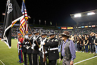 CARSON, CA – SEPTEMBER 18:  Color guard and Navaho Code Talkers during the National Anthem at a soccer match at Home Depot Center, September 18, 2010 in Carson California. Final score LA Galaxy 2, DC United 1.