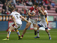 Wigan Warriors' Anthony Gelling is tackled by Huddersfield Giants' Danny Broughm<br /> <br /> Photographer Stephen White/CameraSport<br /> <br /> Betfred Super League Round 5 - Wigan Warriors v Huddersfield Giants - Sunday 19th March 2017 - DW Stadium - Wigan<br /> <br /> World Copyright &copy; 2017 CameraSport. All rights reserved. 43 Linden Ave. Countesthorpe. Leicester. England. LE8 5PG - Tel: +44 (0) 116 277 4147 - admin@camerasport.com - www.camerasport.com