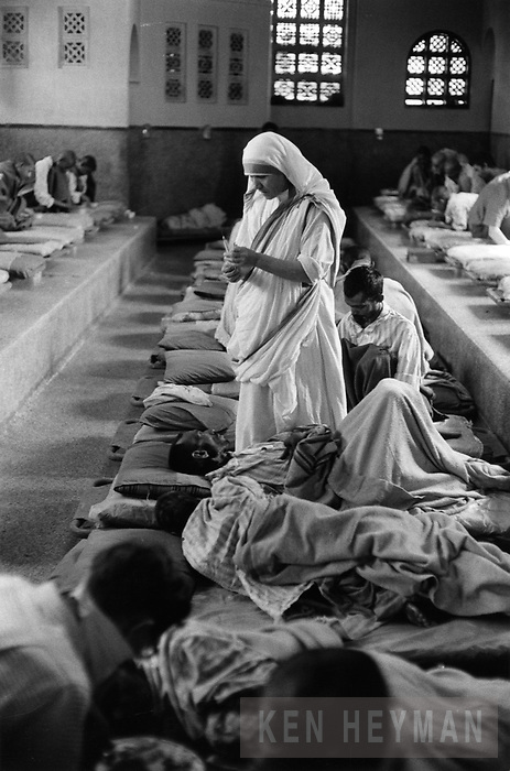 Mother Teresa at her institute for the destitute and dying in Calcutta.