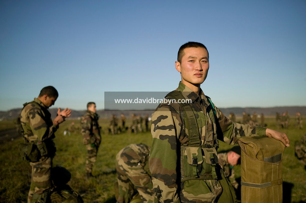 Member of the French Foreign Legion Wang from China waits in line during a full scale multi-force exercise held at the airport of Tarbes; France; 12 December 2007.