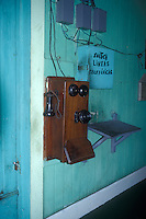 Old telephone at the Sitio del Nino train station in El Salvador, Central America