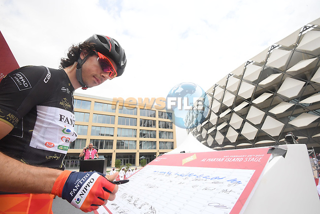 Marco Canola (ITA) Nippo-Vini Fantini at sign on before the start of Stage 3 Al Maryah Island Stage of the 2017 Abu Dhabi Tour, starting at Al Ain and running 186km to the mountain top finish at Jebel Hafeet, Abu Dhabi. 25th February 2017<br /> Picture: ANSA/Claudio Peri | Newsfile<br /> <br /> <br /> All photos usage must carry mandatory copyright credit (&copy; Newsfile | ANSA)