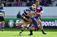 Tom Ellis of Bath Rugby takes on the Stade Francais defence. European Rugby Challenge Cup Semi Final, between Stade Francais and Bath Rugby on April 23, 2017 at the Stade Jean-Bouin in Paris, France. Photo by: Patrick Khachfe / Onside Images