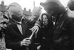 Ireland The Troubles. Belfast 1980s. Teenage Catholic youths make petrol bombs.