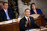 President Barack Obama delivers his State of the Union address in the U.S. Capitol on Tuesday, January 24, 2012 in Washington, DC.