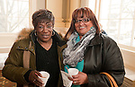 WATERBURY, CT-021517JS08---Barbara Blocker of Wolcott, left, and Dolores Boatwright of Waterbury, right, at the African American Mayor for the Day celebration at Waterbury City Hall. <br /> Jim Shannon Republican-American