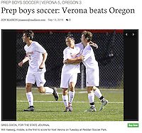 Verona's Will Haessig (middle) is the first to score for Verona Tuesday night, as Oregon takes on Verona in boys high school soccer on Tuesday at Reddan Soccer Park in Verona, Wisconsin | Wisconsin State Journal front page of Sports 9/14/16 at on-line at http://host.madison.com/wsj/sports/high-school/soccer/prep-boys-soccer-verona-beats-oregon/article_39987e6e-b21c-5ef4-85ba-4efae1efe43d.html