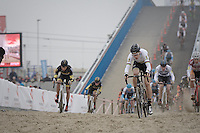 Wout van Aert (BEL/VerandasWillems-Crelan) leading the way (from the bat) as the peloton hits the sand for the very first time (and at high speed).<br />