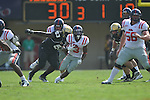 Ole Miss' Jeff Scott (3) runs in Nashville, Tenn. on Saturday, September 17, 2011. Vanderbilt won 30-7..