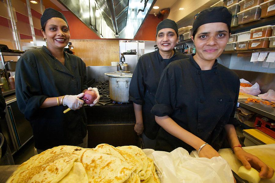 Vij's Rangoli Indian restaurant and cafe. The kitchen.